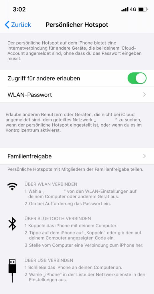iOS: mobilen Hotspot einrichten