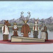 Image tirée du jeu Rusty Lake Paradise: Silhouettes d'animaux devant un cercueil