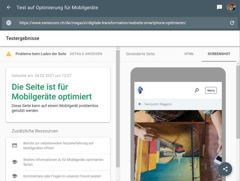 Google Test, ob eine Webseite für Mobilgeräte optimiert ist.
