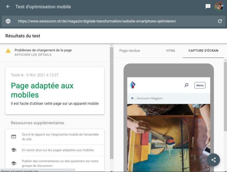 Google: Test d'optimisation mobile