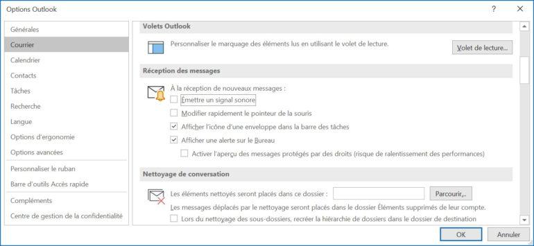 Dans les options, vous décidez comment et si Outlook vous informe des nouveaux e-mails.