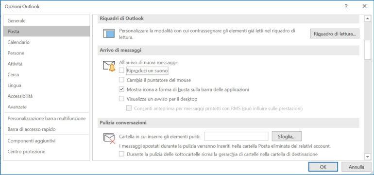Nelle opzioni stabilite se e come Outlook deve notificare le nuove e-mail.