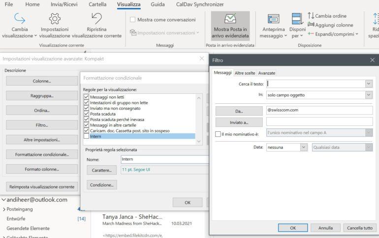 Utilizzando la formattazione condizionale è possibile evidenziare con vari colori le e-mail presenti nella casella di posta in arrivo di Outlook.