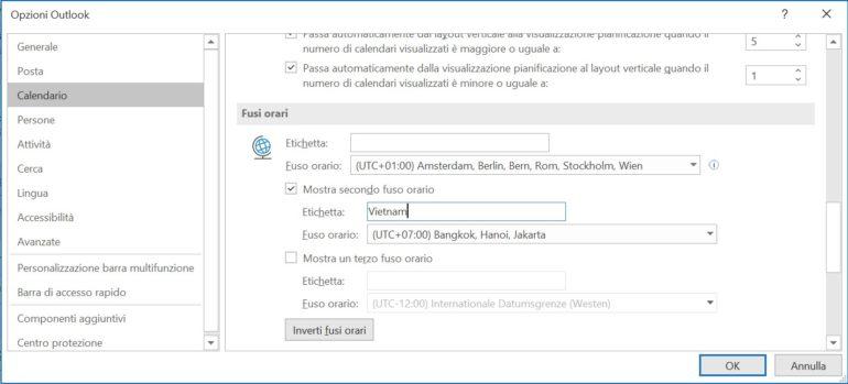 Il calendario di Outlook può visualizzare diversi fusi orari.