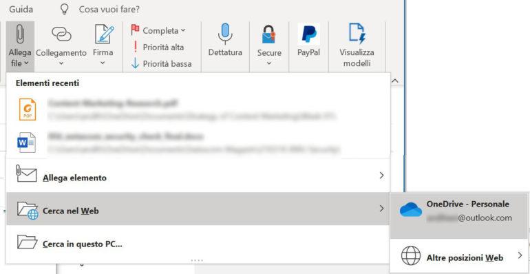 Su Outlook, potete ridurre sensibilmente la dimensione delle e-mail inviando i vostri file come link.