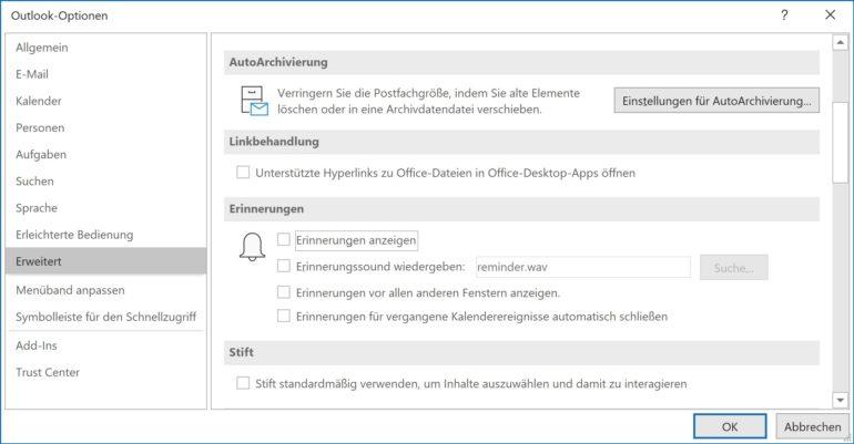 Outlook-Optionen: Terminbenachrichtigung ausschalten