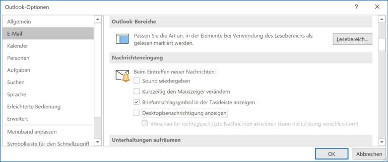 Outlook-Optionen: E-Mail-Benachrichtigungen
