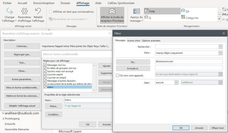 La mise en forme conditionnelle vous permet d'utiliser des couleurs pour mettre en évidence des e-mails dans la boîte de réception Outlook.