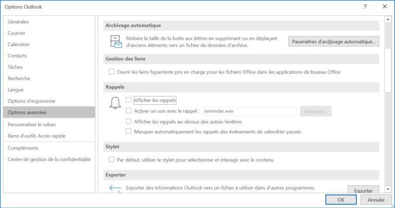 Dans les options avancées, vous pouvez désactiver les notifications de rendez-vous pour le calendrier.