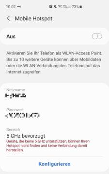 Android: mobilen Hotspot konfigurieren