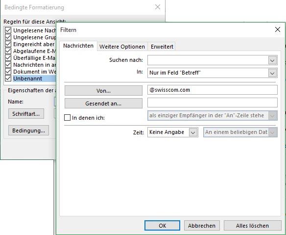 Outlook 2016: marquer en couleur les e-mails de la boîte de réception