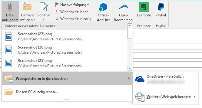 Outlook 2016: envoyer des pièces jointes volumineuses